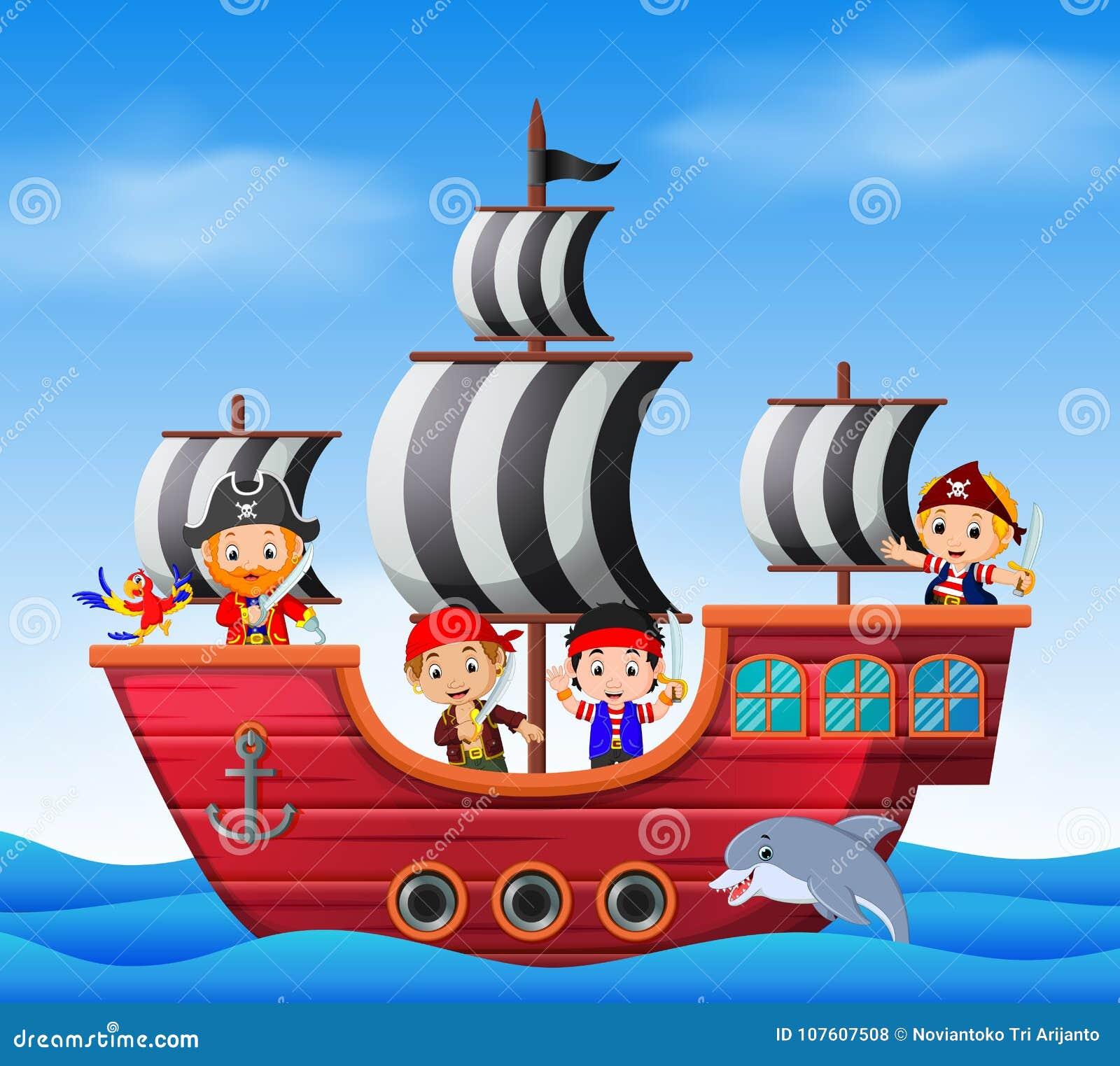 Niños En Escena Del Barco Pirata Y Del Océano Ilustración del Vector ... c92e464f596