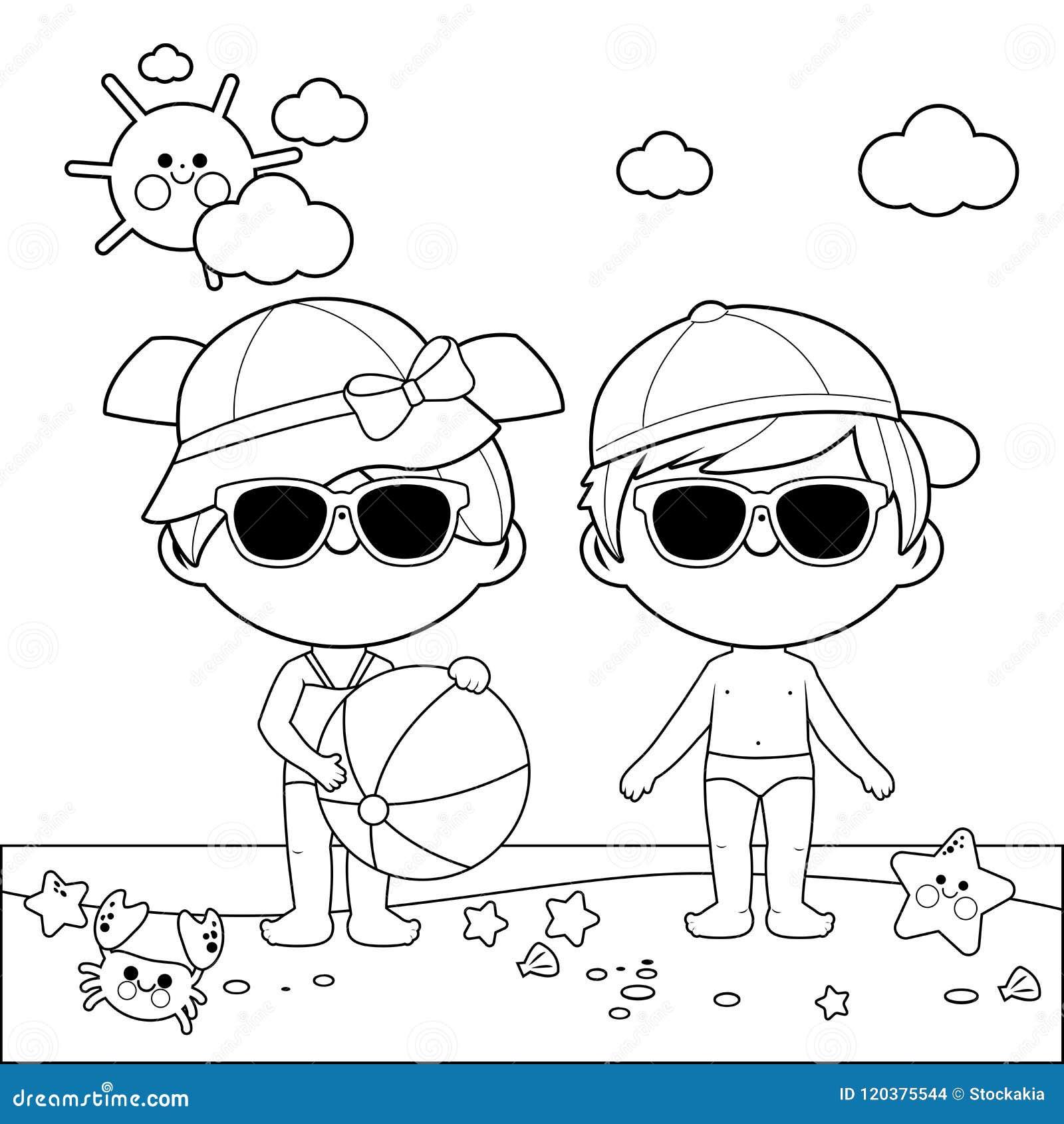 e406afa591f6 Niños En La Playa Con Los Sombreros Y Las Gafas De Sol Página Blanco ...