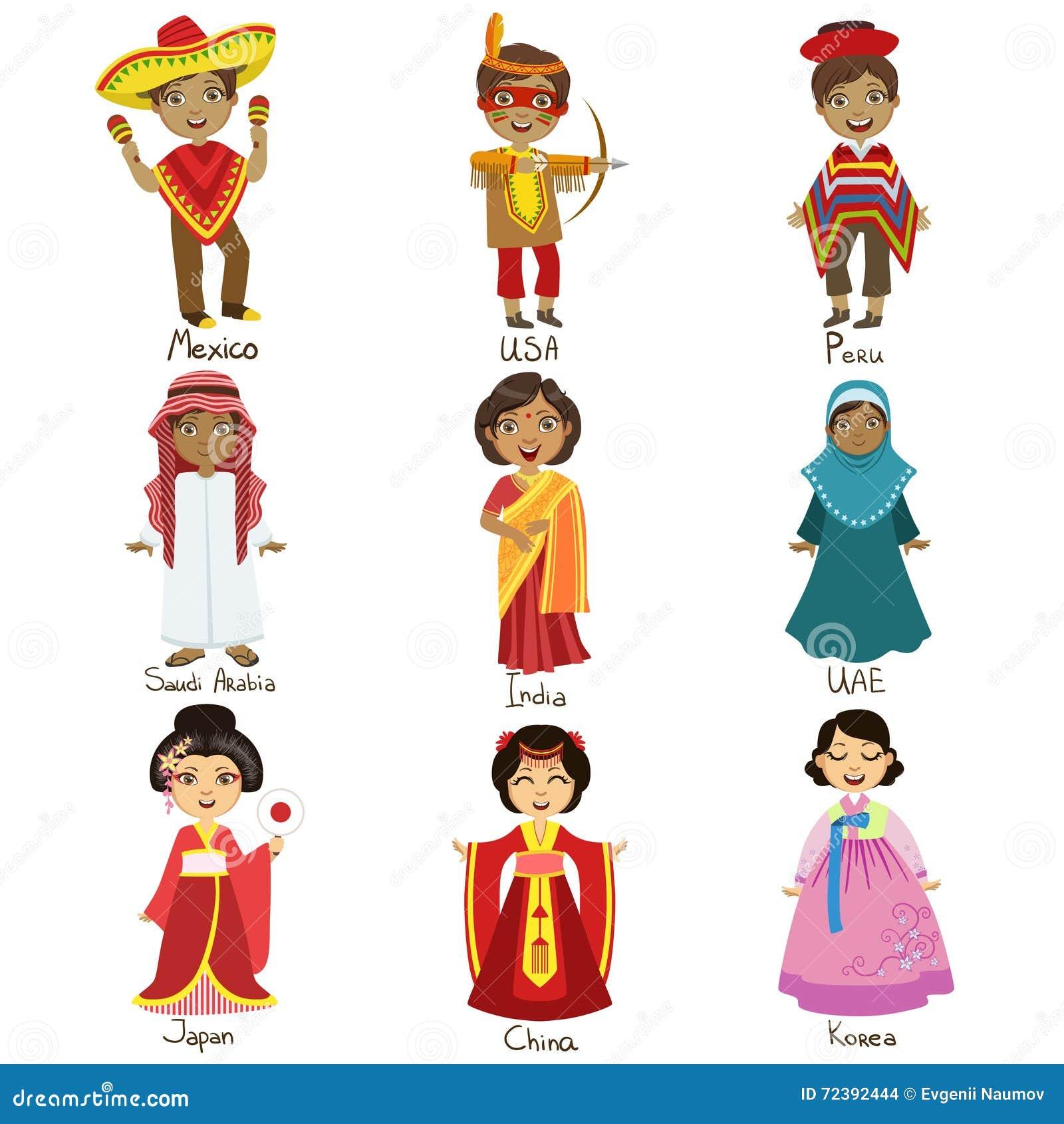 Niños en los trajes nacionales fijados
