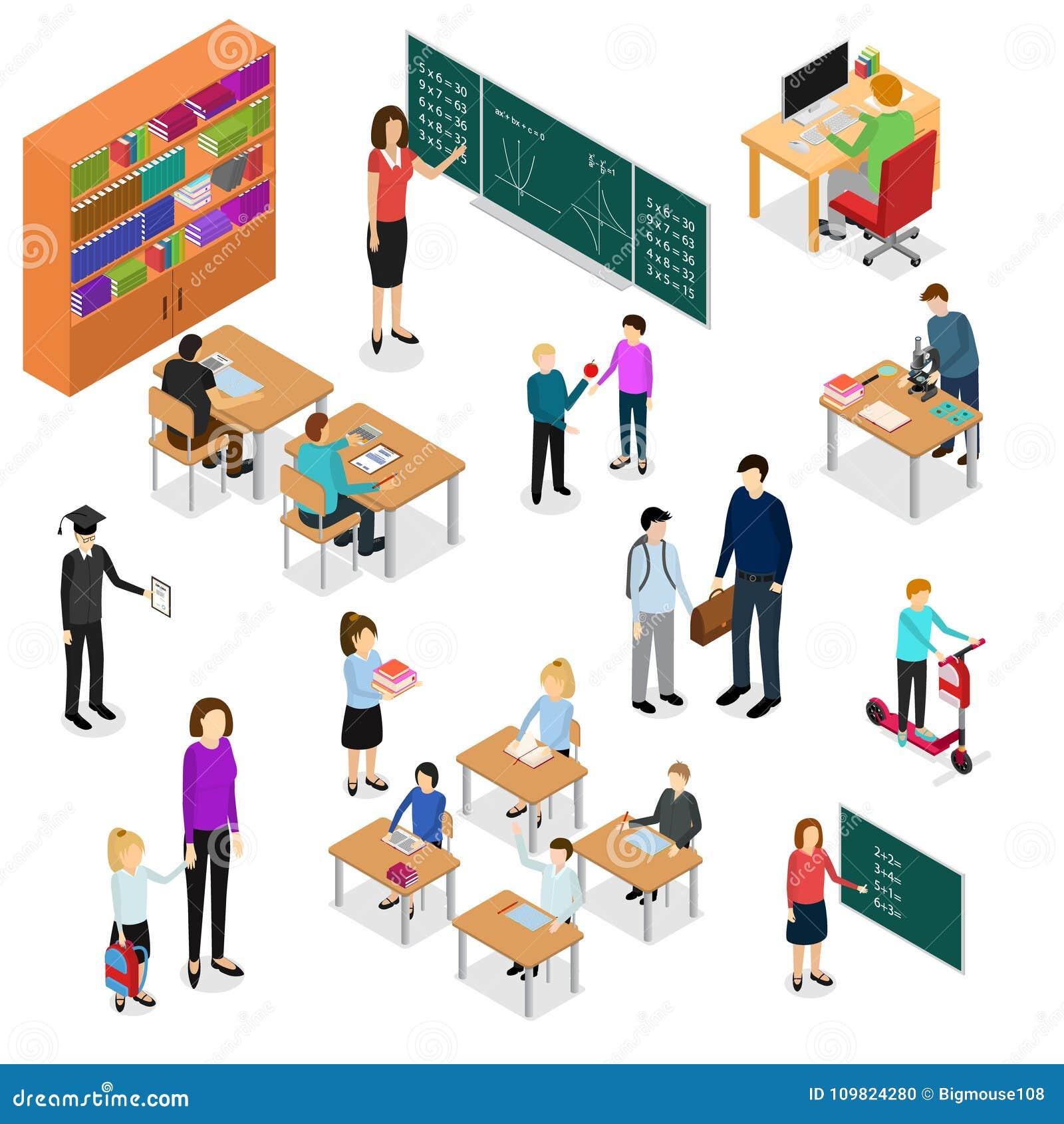 Niños estudiante y opinión isométrica de Education Concept 3d del profesor Vector