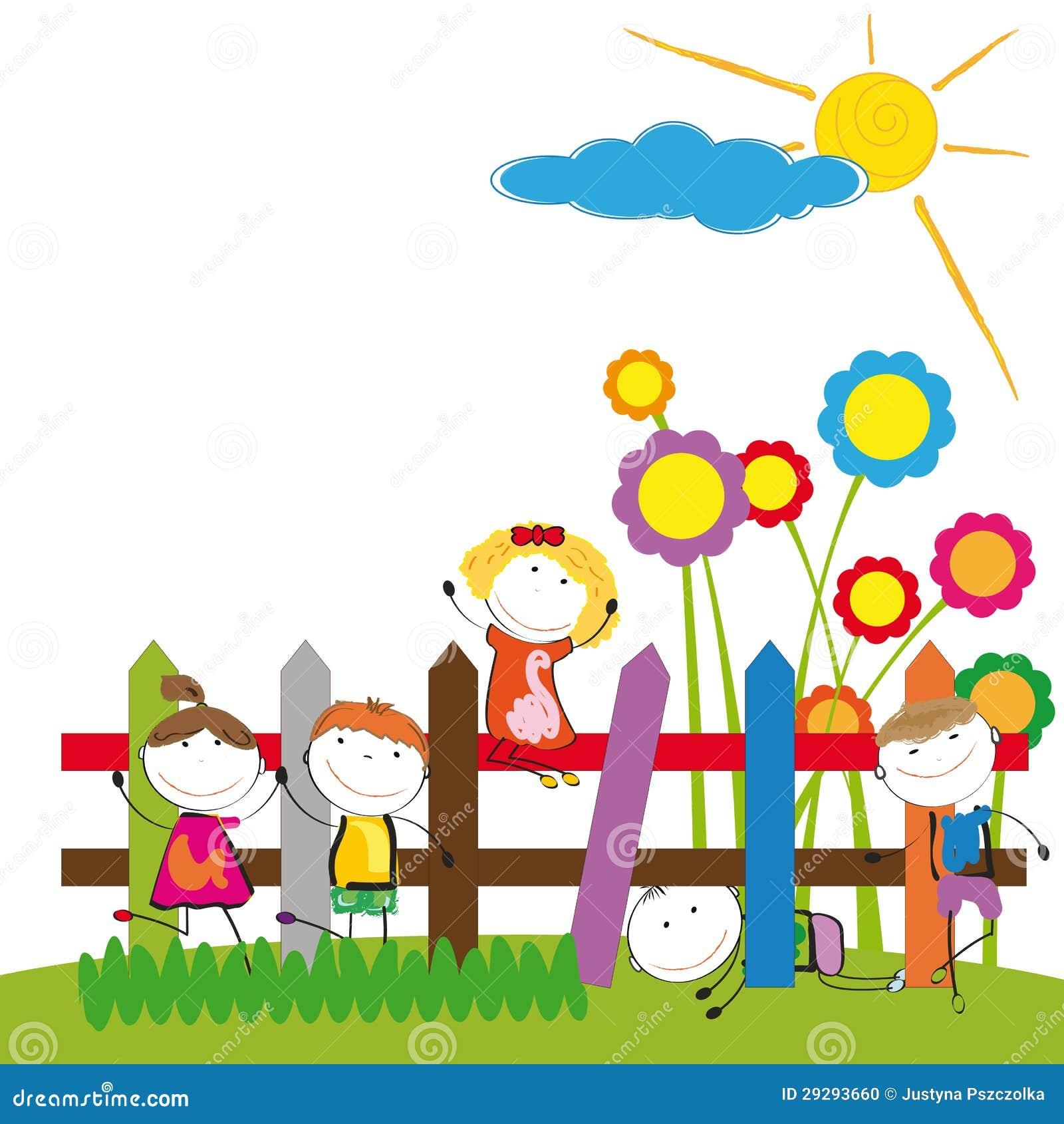 Ni os felices ilustraci n del vector imagen de divertido for Jardines pequenos para ninos