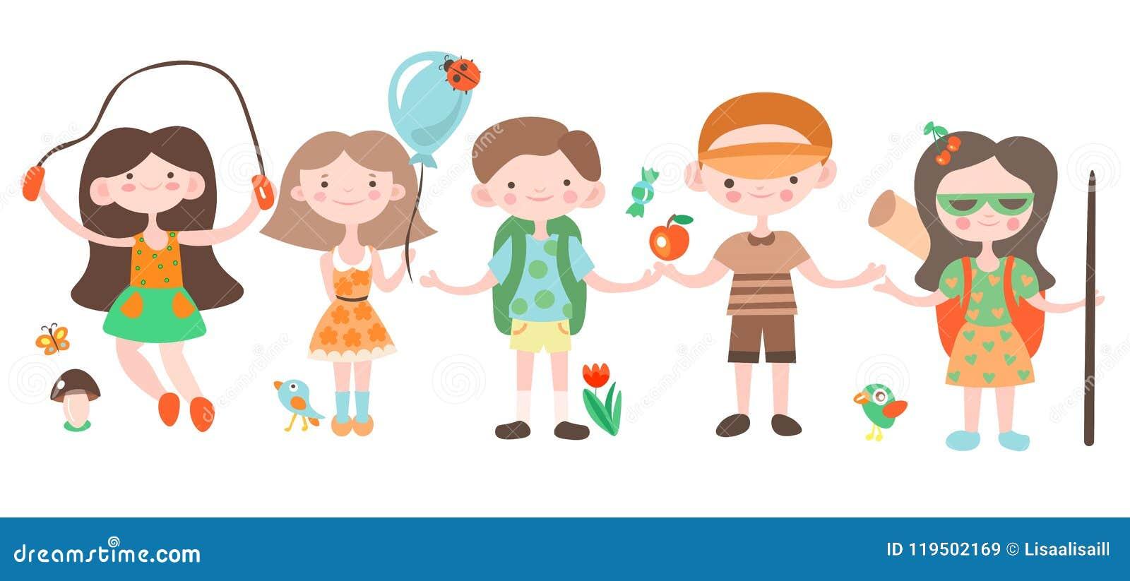 Niños felices, día de fiesta y el jugar que acampa con los elementos del campo Ejemplo del vector de la historieta de los niños d