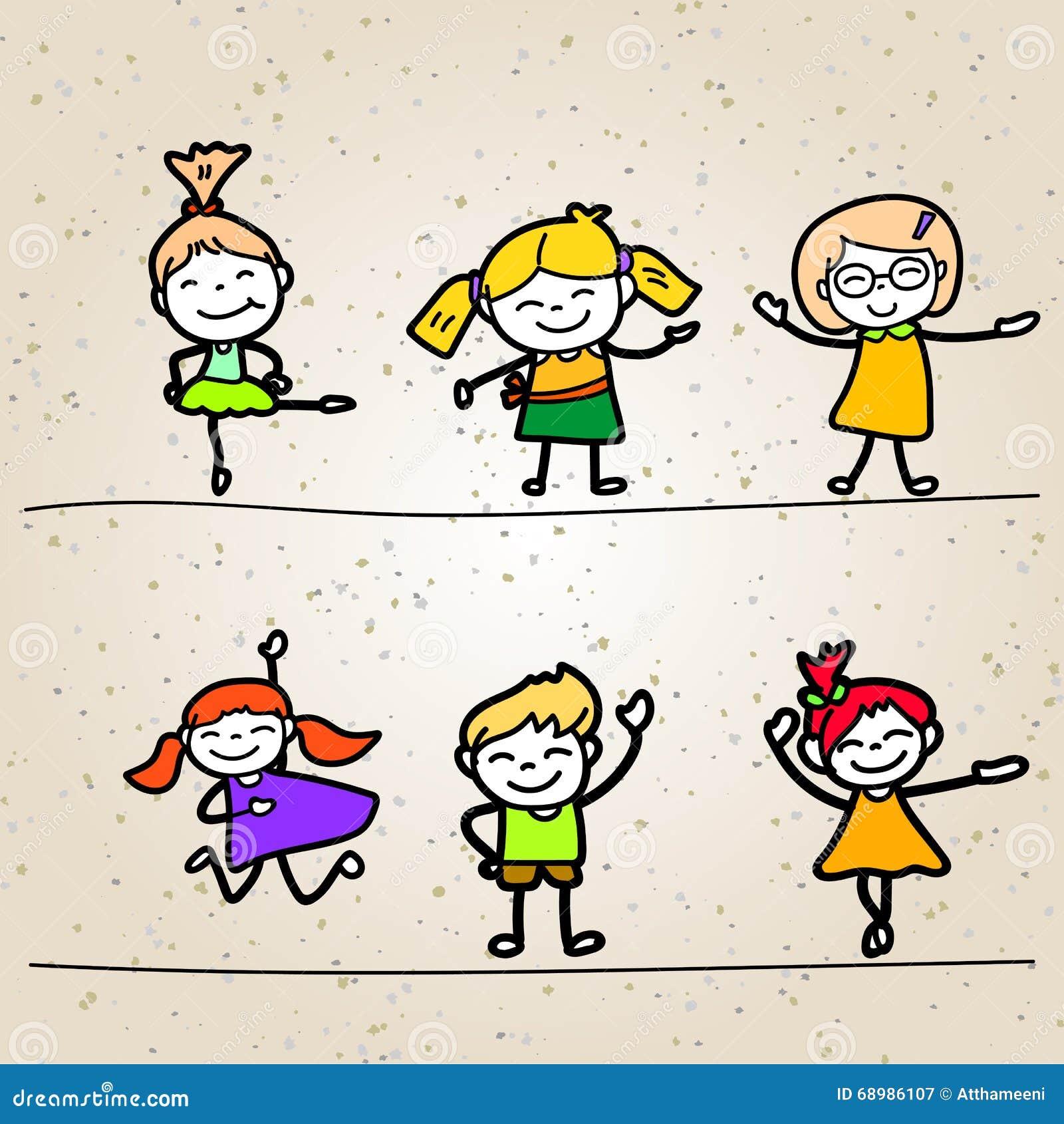 Niños felices de la historieta del dibujo de la mano
