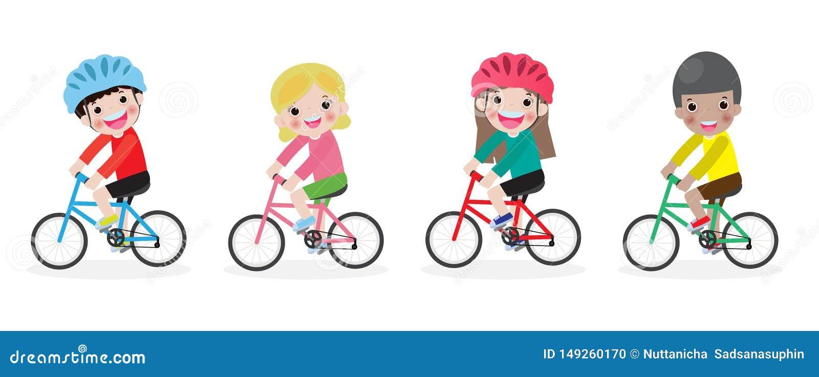 Ni?os felices en las bicicletas, bici del montar a caballo de los ni?os, ni?os que montan las bicis, bici del montar a caballo de