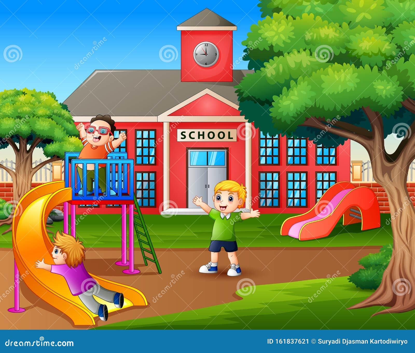 Niños Felices Jugando En El Patio De Recreo De La Escuela Ilustración Del Vector Ilustración De Alto Entrada 161837621