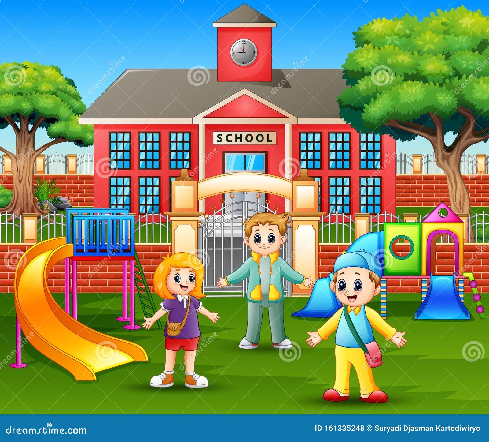 Niños Felices Jugando Frente A La Escuela Ilustración Del Vector Ilustración De Poco Alegre 161335248
