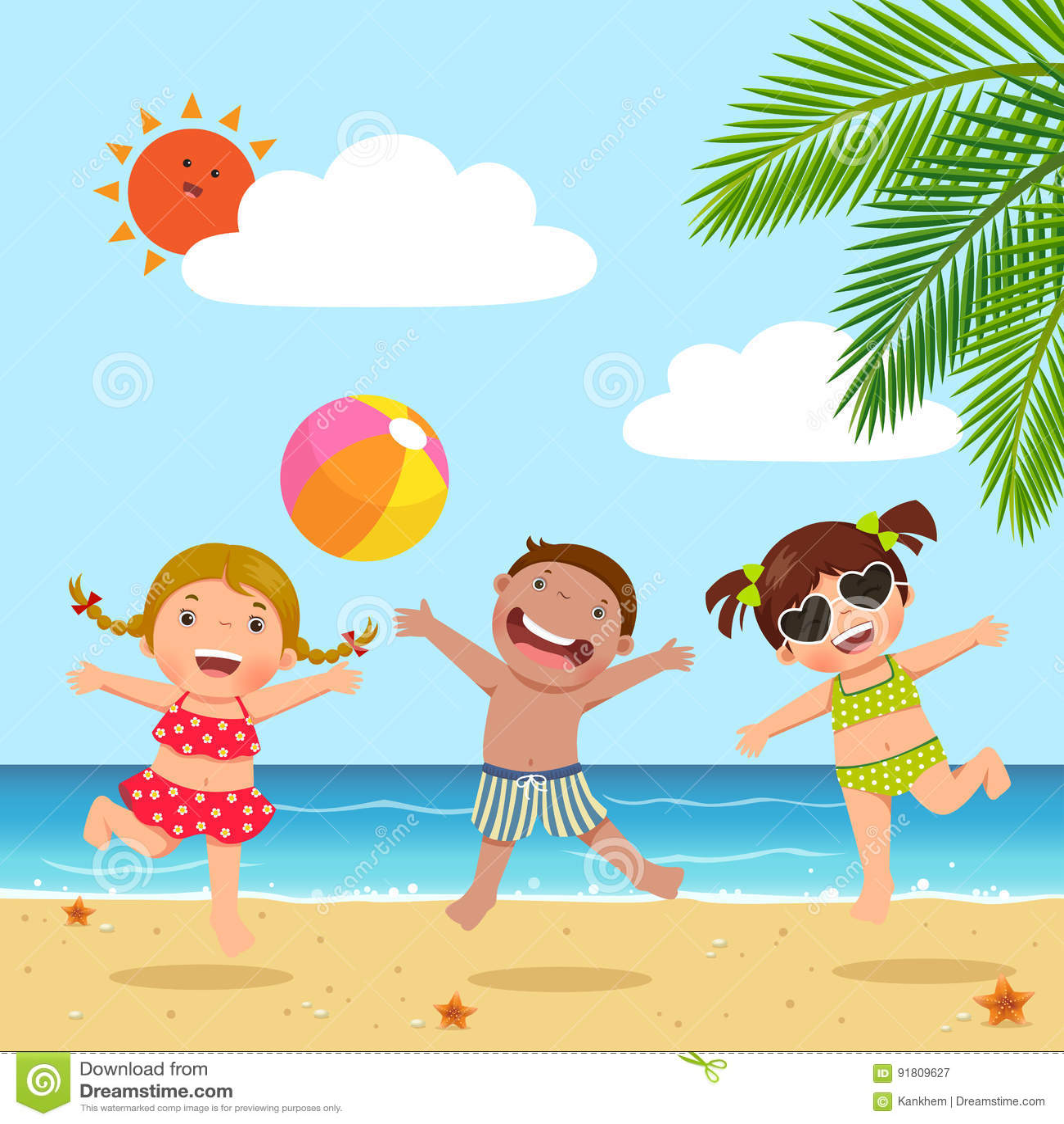 Niños felices que saltan en la playa
