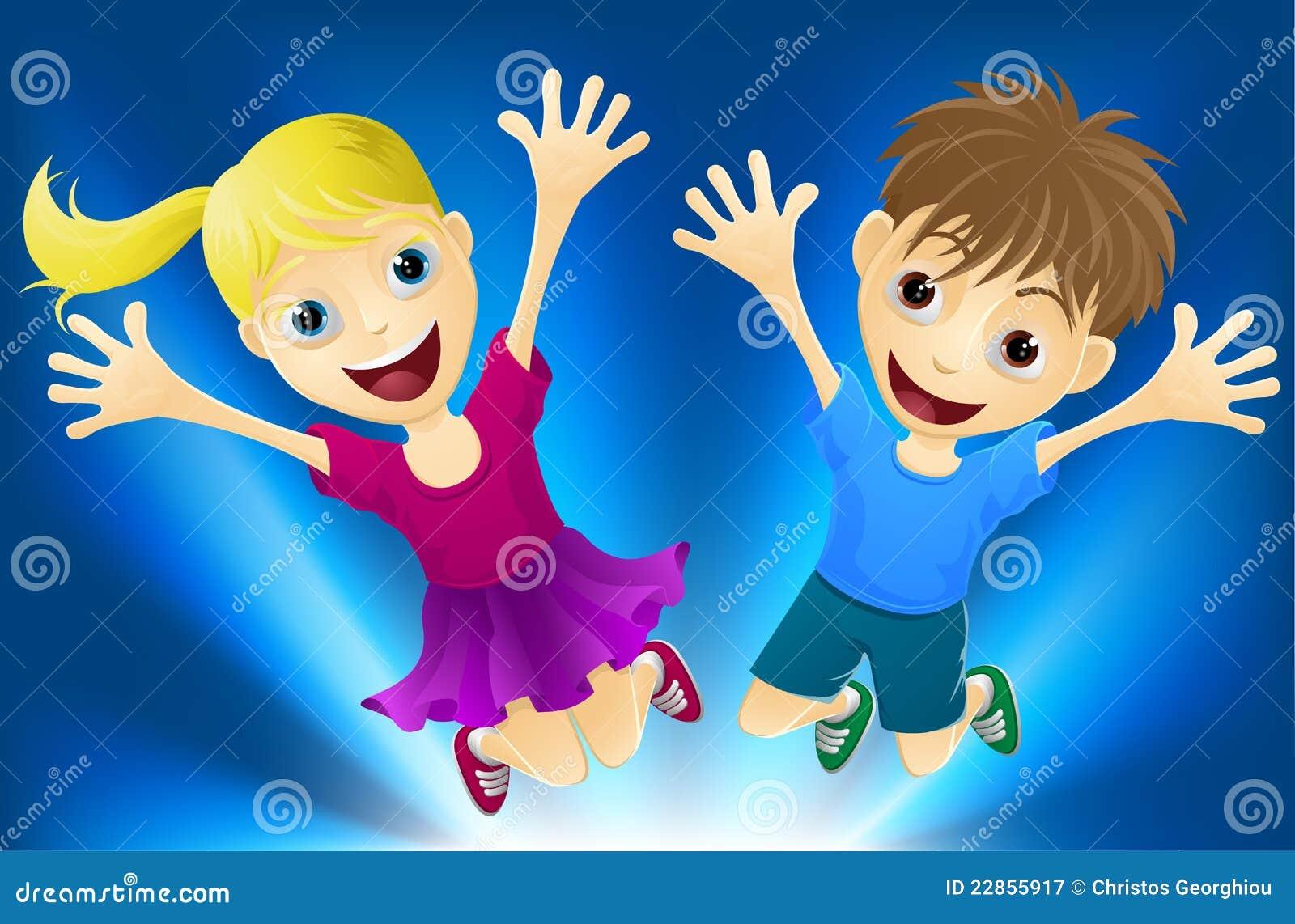 Niños Felices Que Saltan Para La Alegría Ilustración
