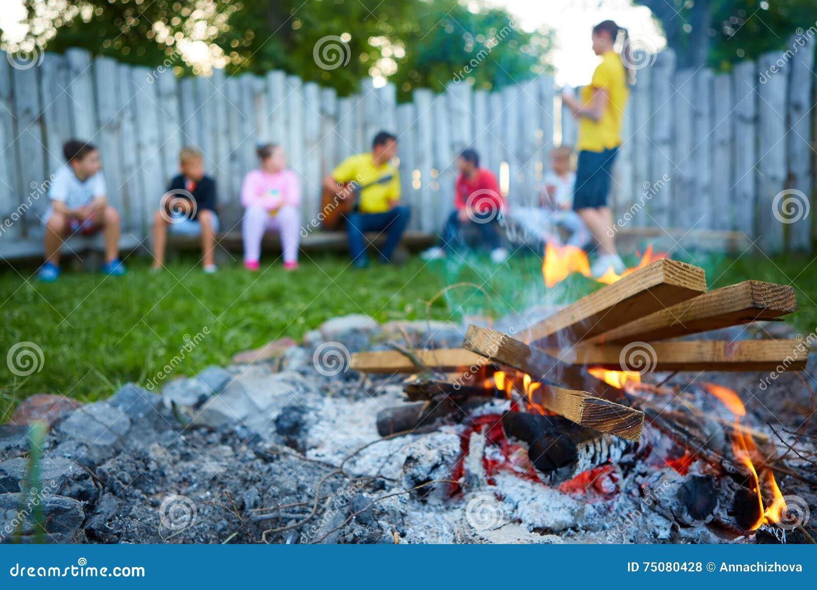 Niños felices que se divierten alrededor del fuego del campo