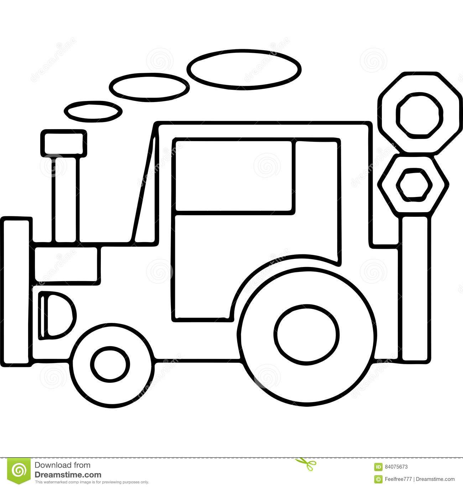 Niños Geométricos Del Tractor Que Colorean Las Páginas Stock de ...