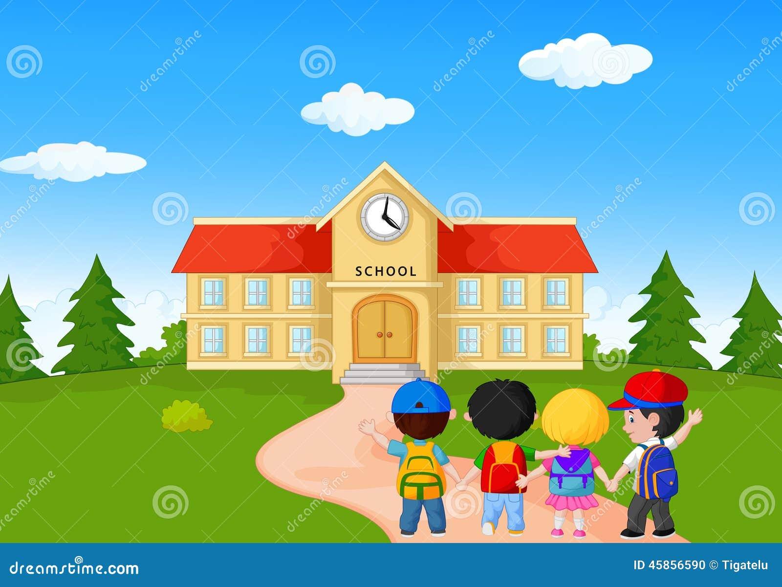 Ni os jovenes felices que caminan junto a la escuela for Memoria descriptiva de un colegio