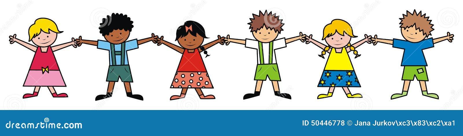 Niños, línea, color ilustración del vector. Ilustración de chaval ...