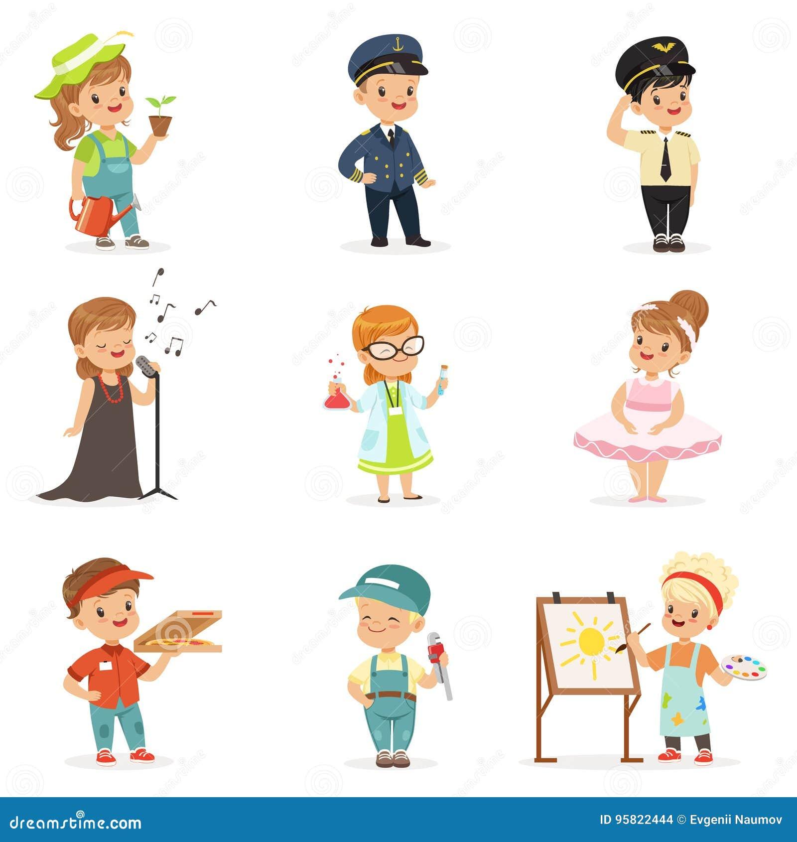 Niños lindos en las diversas profesiones fijadas Niños pequeños y muchachas sonrientes en uniforme con el equipo profesional colo