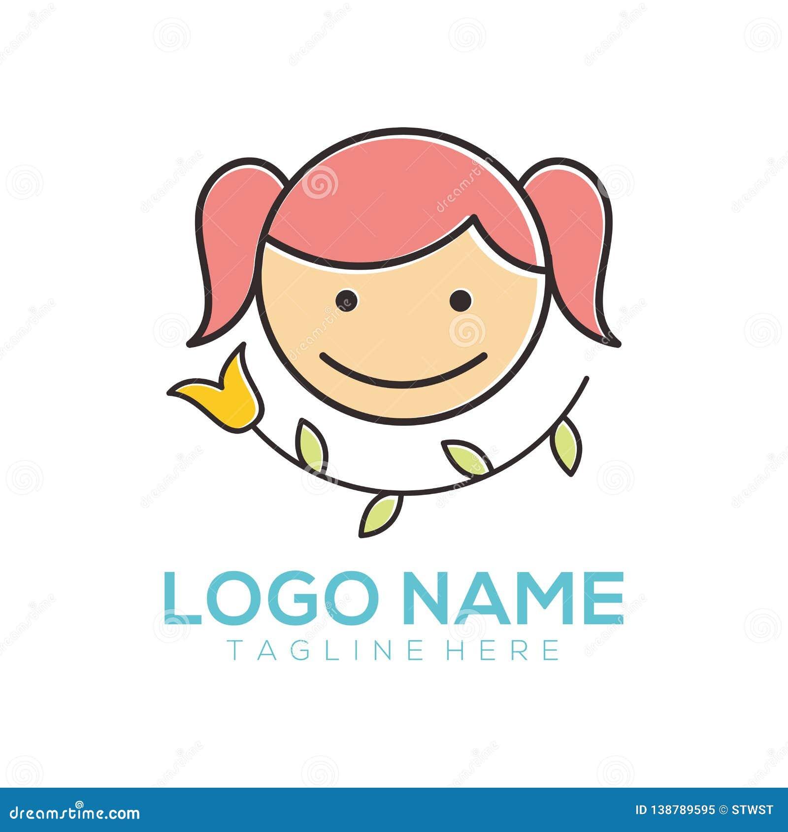 Niños logotipo y diseño del icono