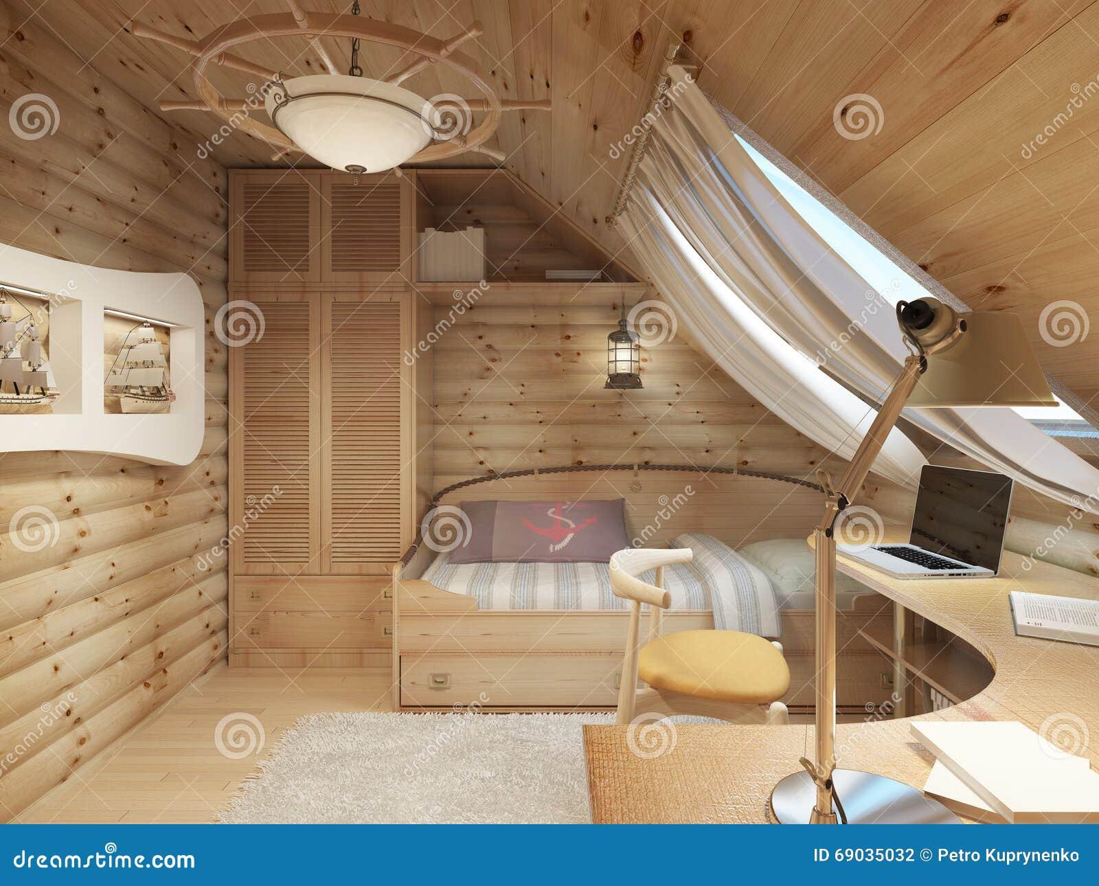 nios para un adolescente en una cabaa de madera en el tico fotografa de archivo