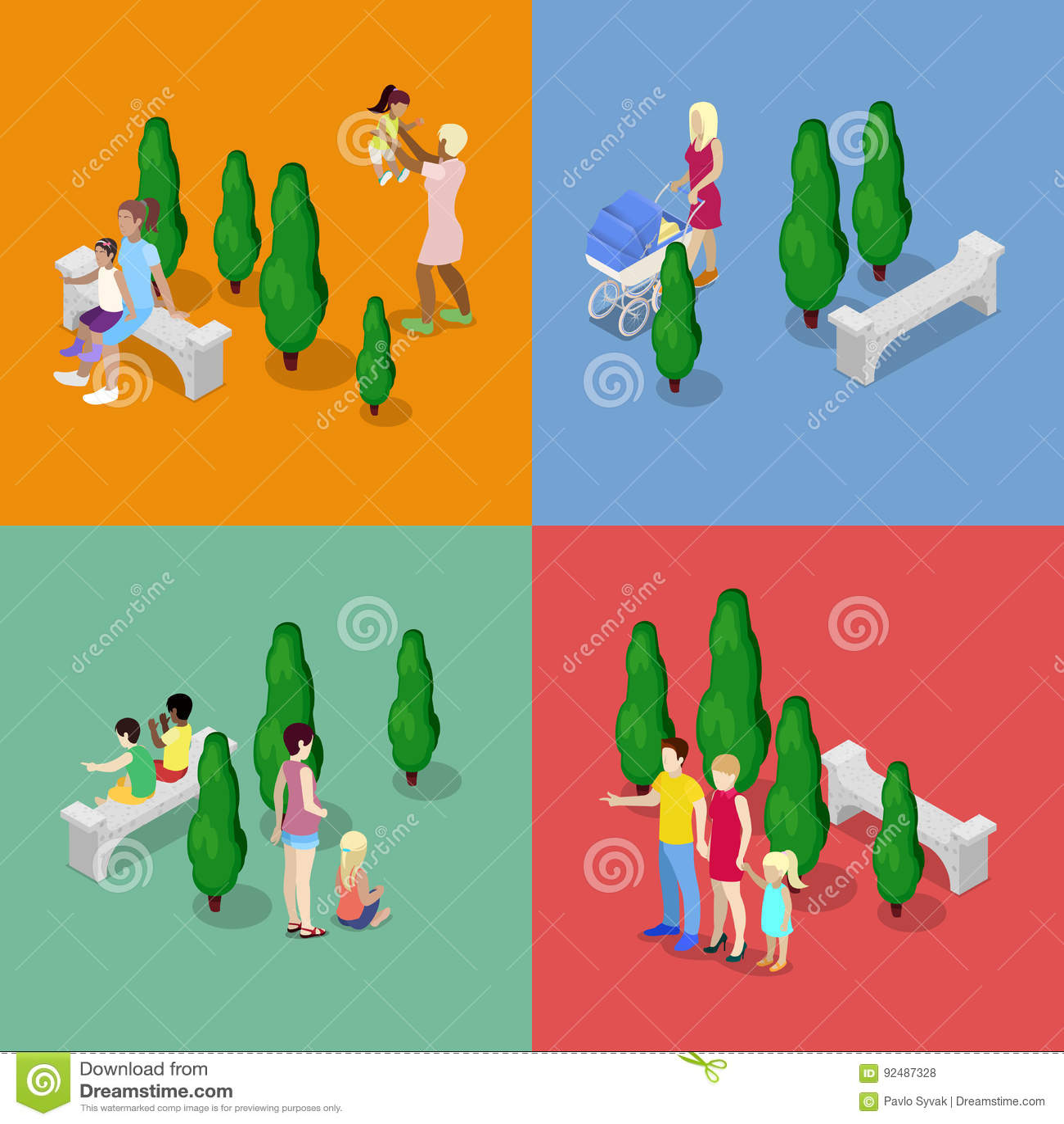Niños que caminan con los padres Concepto de familia feliz Ejemplo plano isométrico 3d
