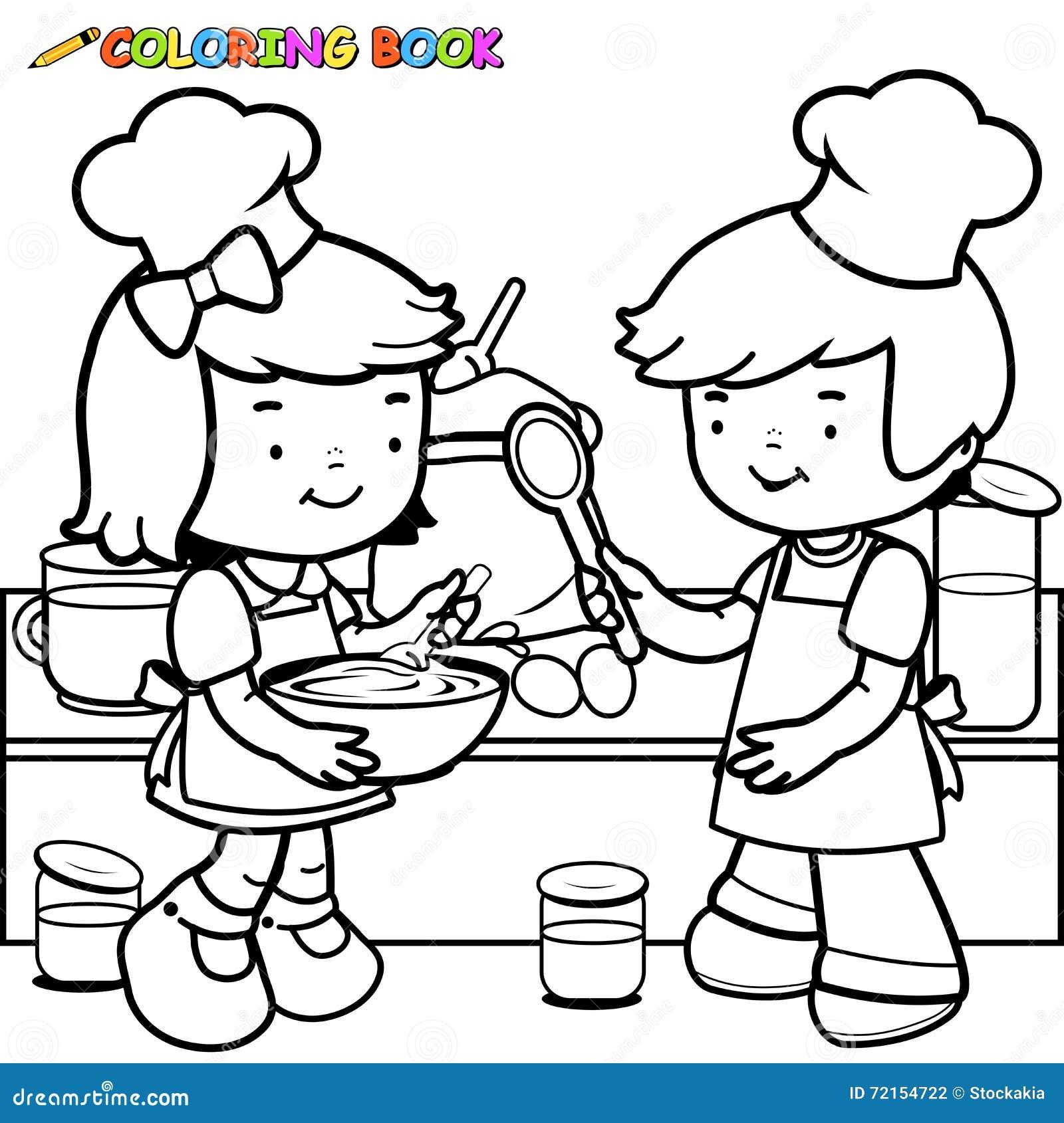 Niños Que Cocinan La Página Del Libro De Colorear Ilustración del ...