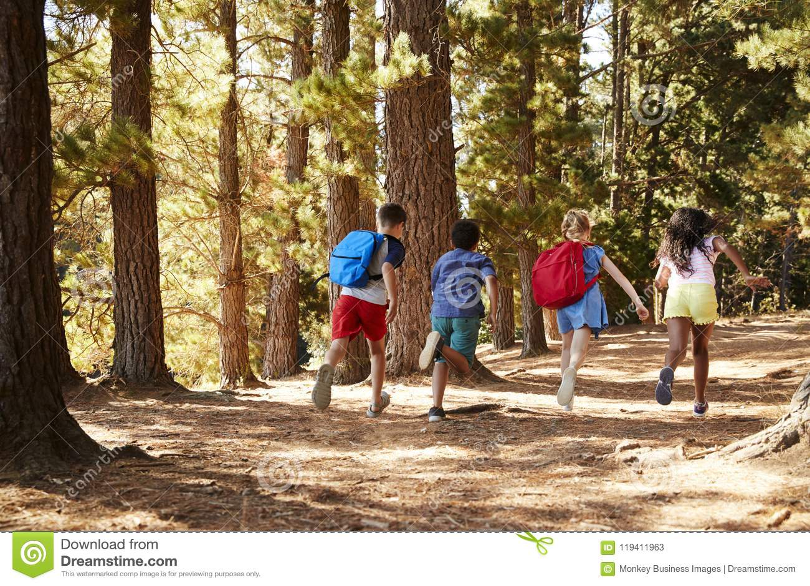 Niños que corren a lo largo de Forest Trail On Hiking Adventure
