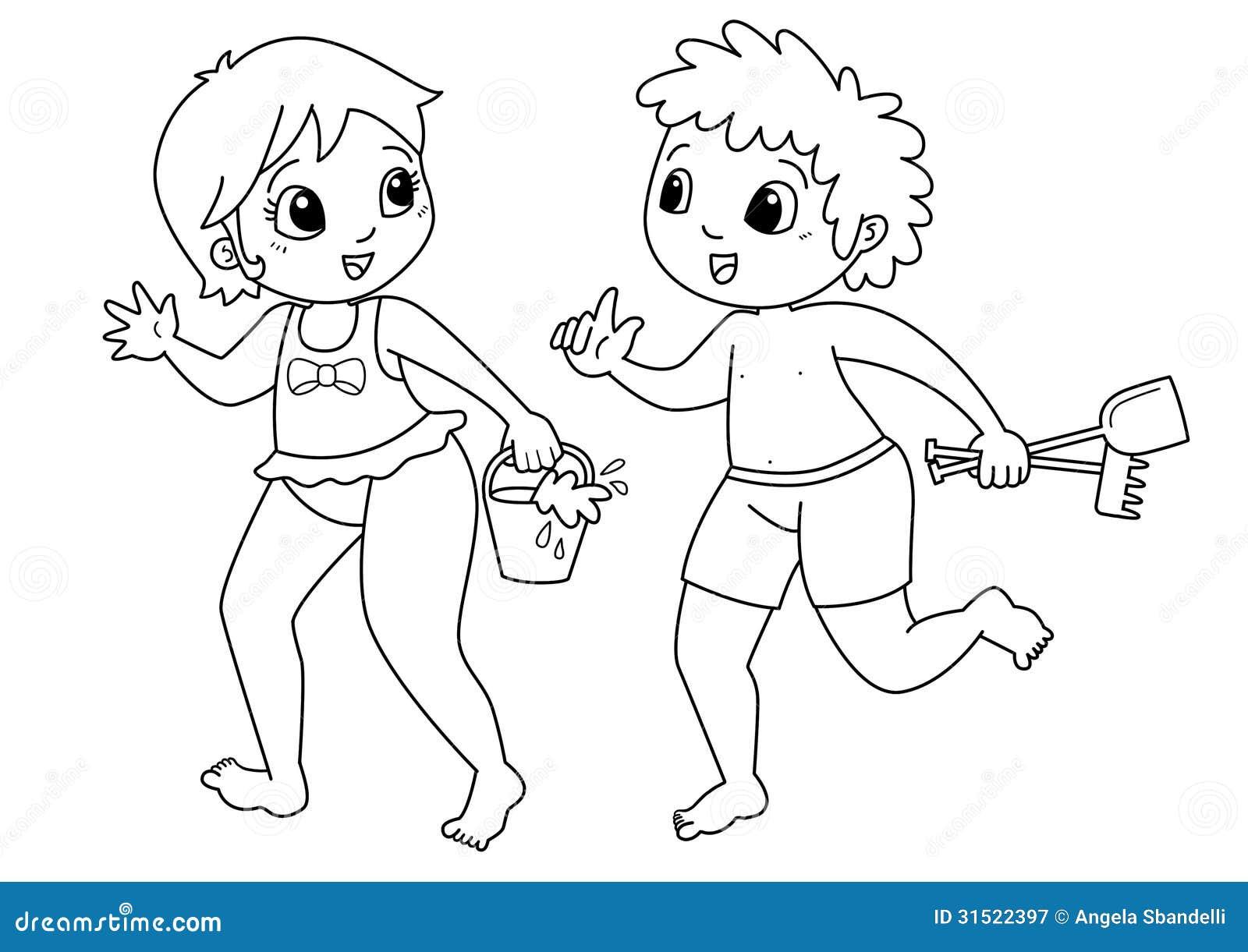 Niños Que Dibujan Para Colorear Stock de ilustración - Ilustración ...