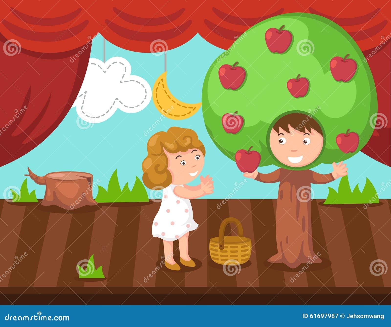 Niños que hacen drama de la etapa