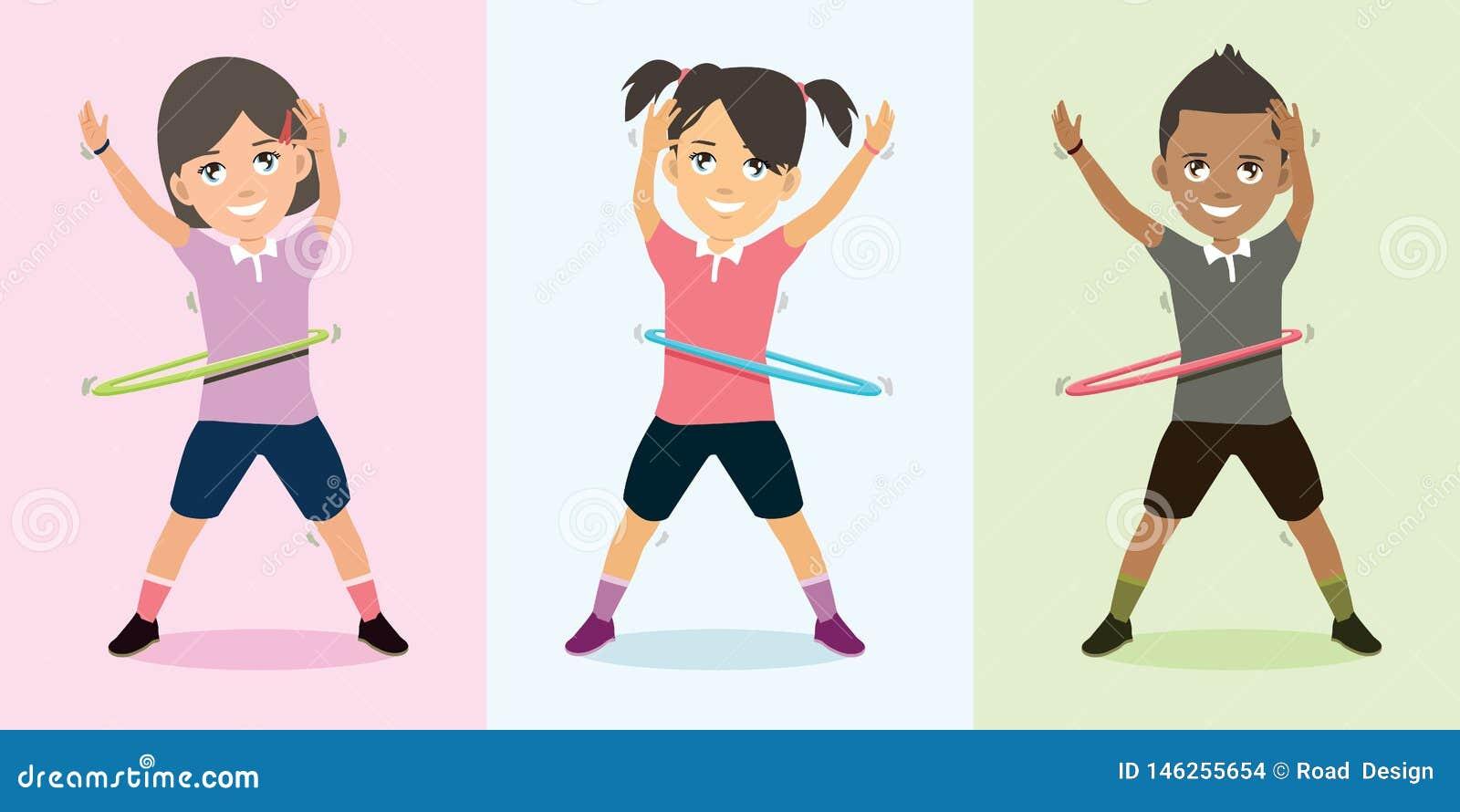 Niños que juegan el baile del aro con el ejemplo feliz del vector de la cara