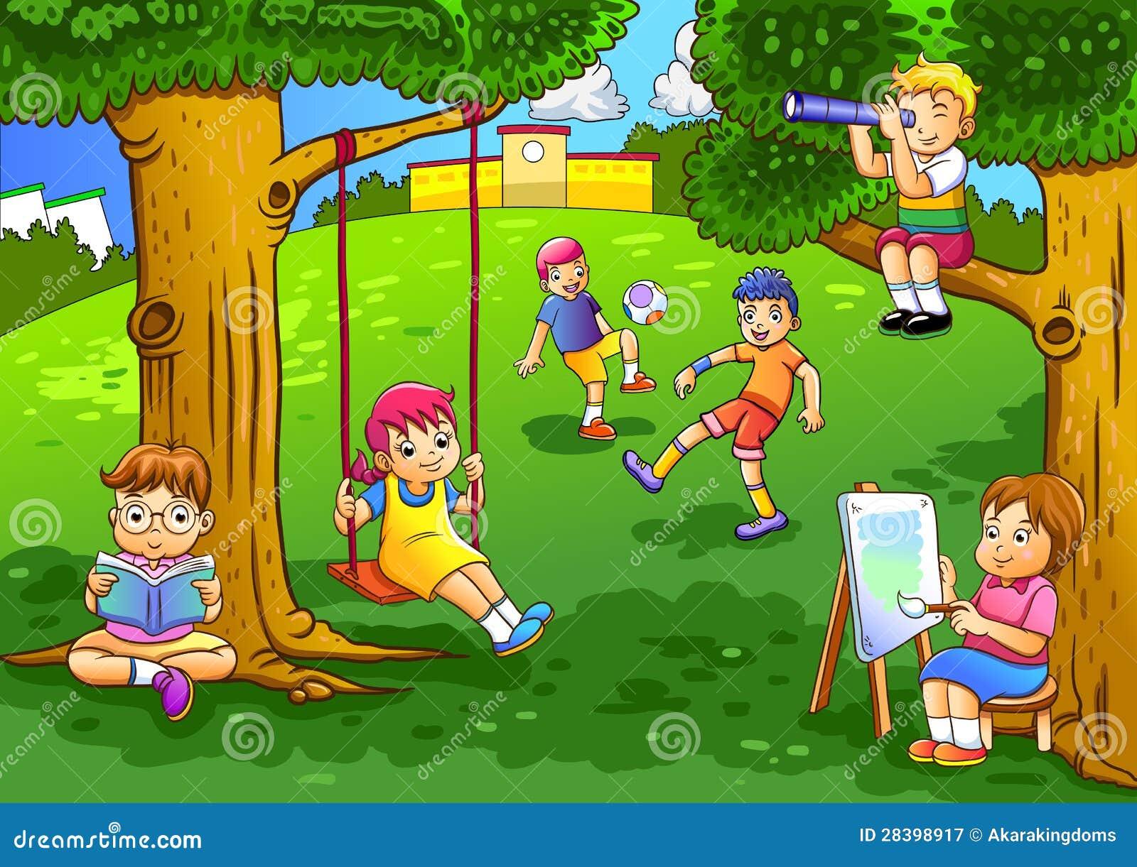 Ni os que juegan en el jard n for Juegos para jardin nios