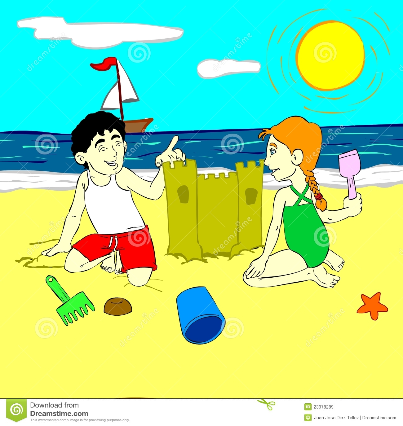 Niños que juegan en la arena