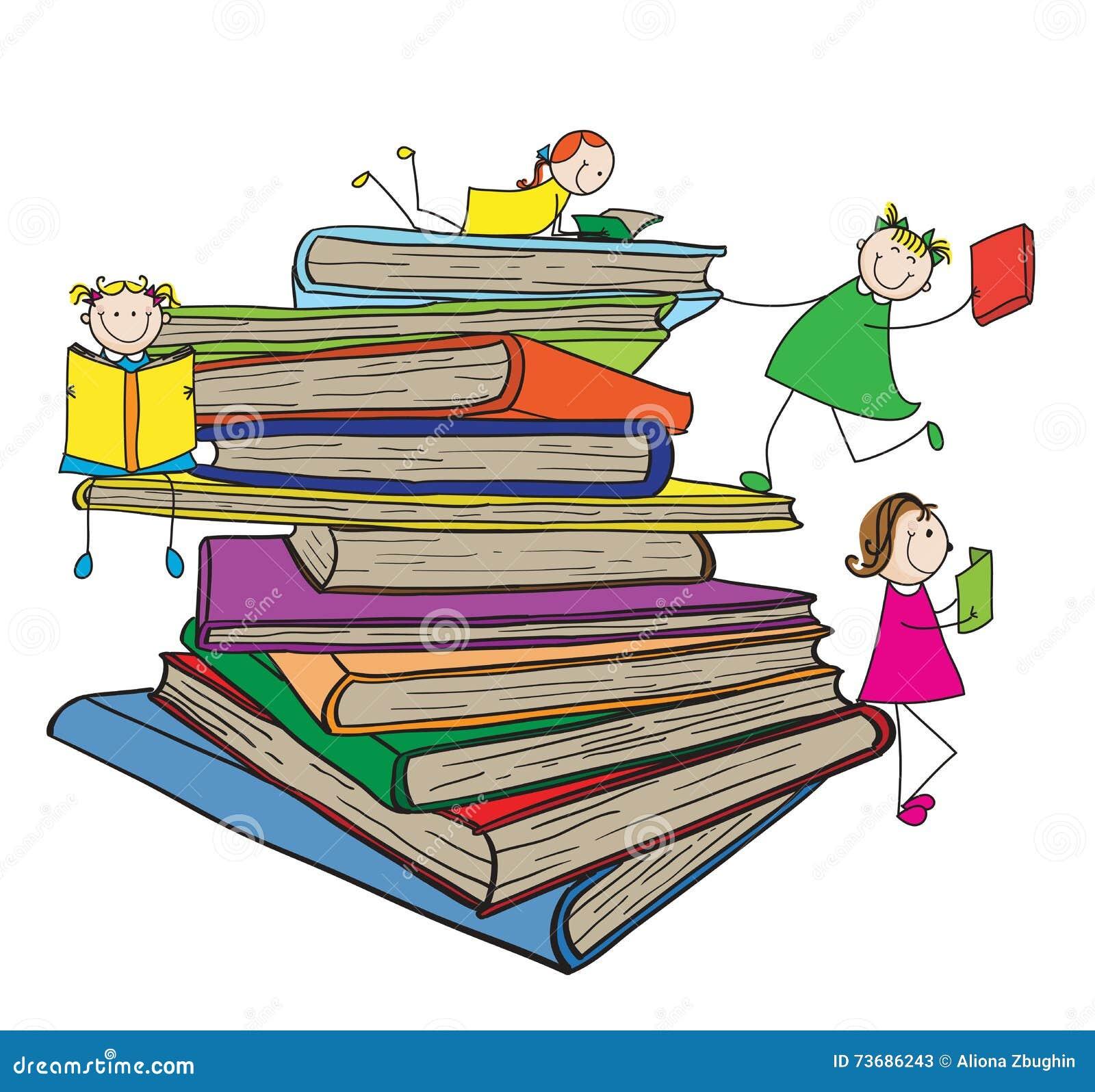 Niños que leen en pila de libros grande
