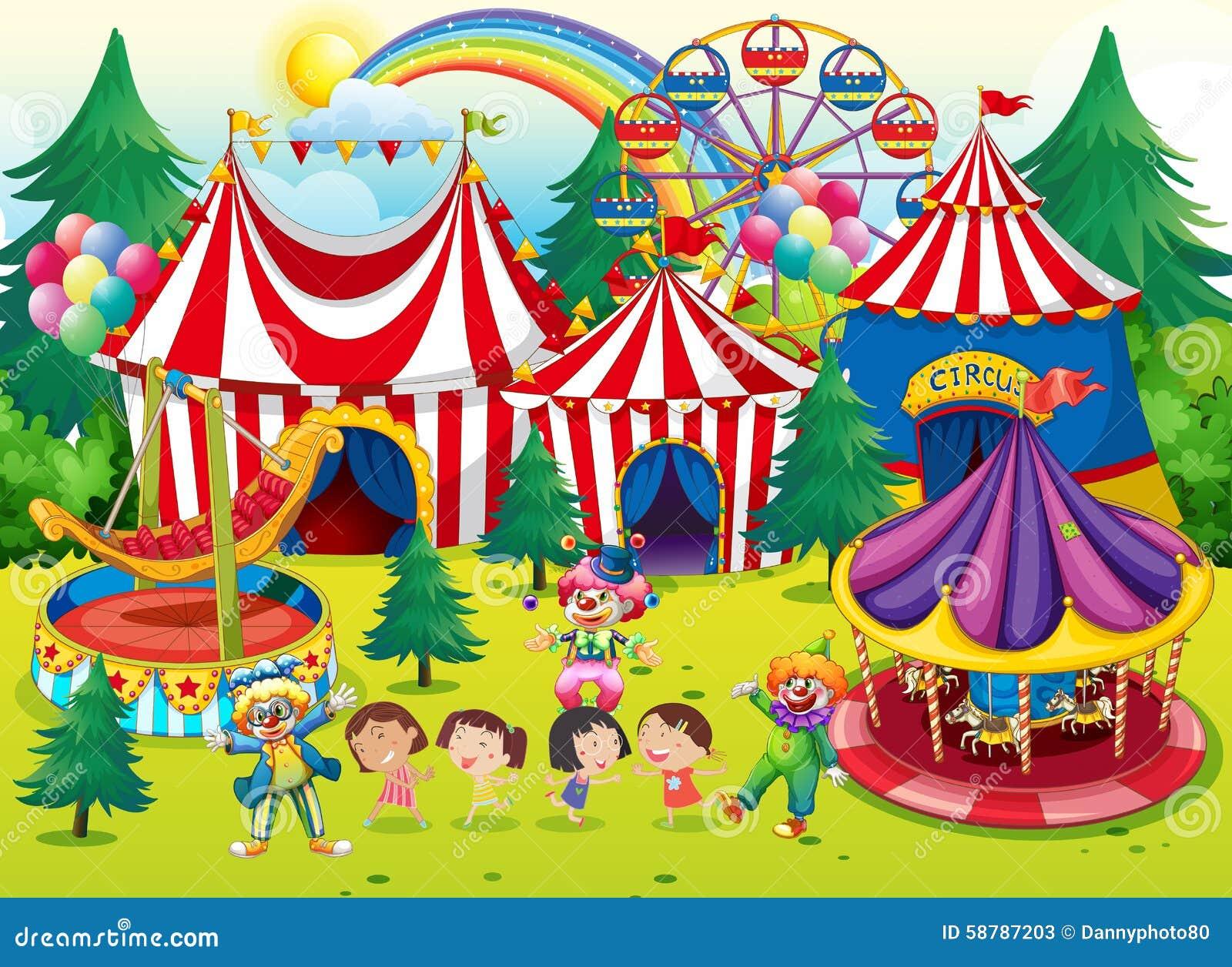 Niños que se divierten en el circo