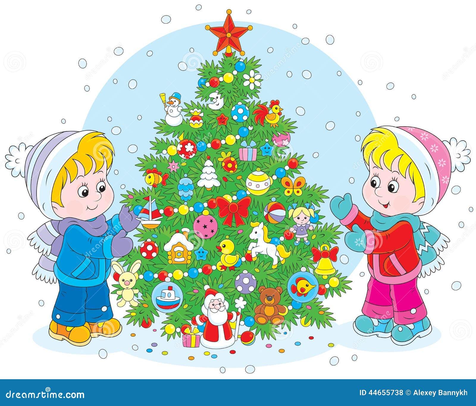 nios y rbol de navidad ilustracin del vector