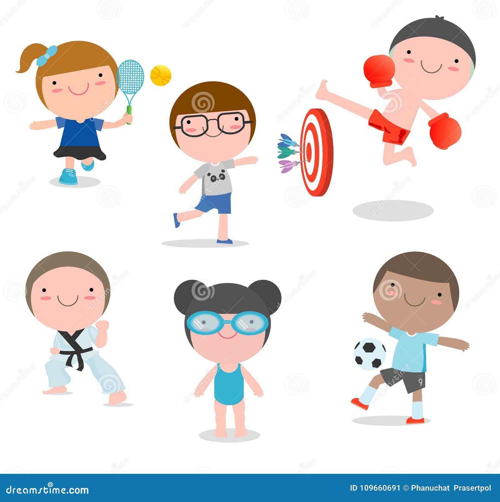 Niños y deporte, niños que juegan diversos deportes en el fondo blanco, natación, boxeo, fútbol, tenis, karate, dardos, vector