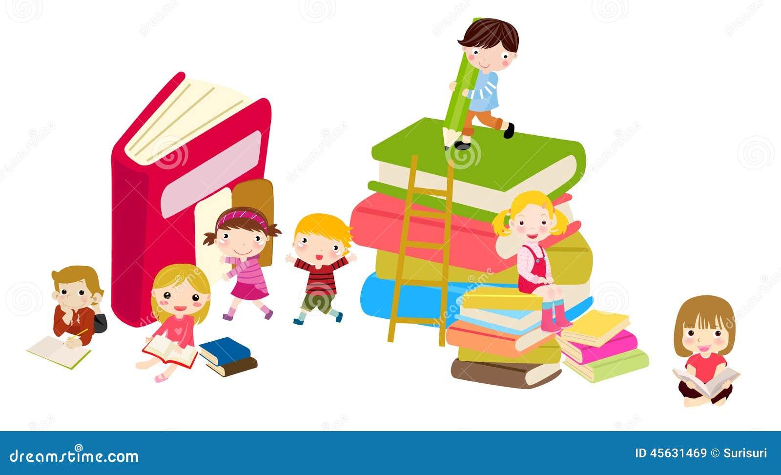 Ni 241 Os Y Libros Ilustraci 243 N Del Vector Ilustraci 243 N De Ni 241 O