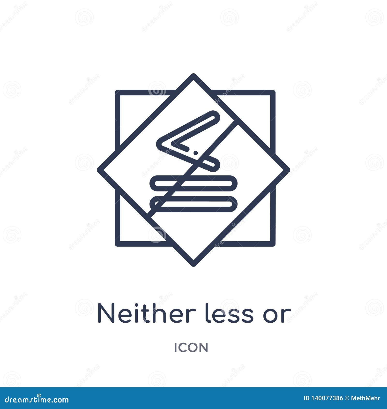 Ni moins ou exactement icône égale de collection d ensemble de signes Ligne mince ni moins ou exactement icône égale d isolement