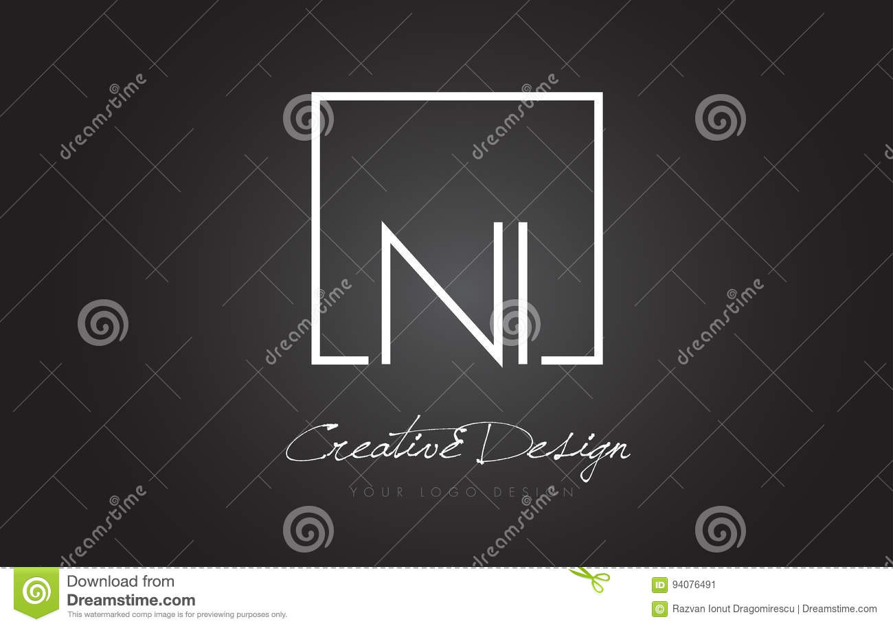 NI Square Frame Letter Logo Design with Black and White Colors.