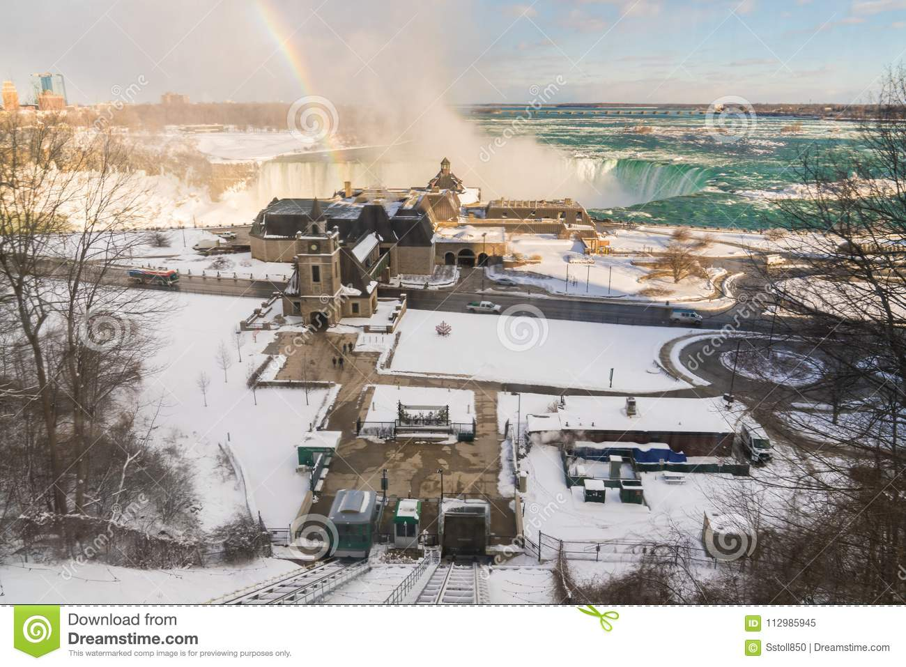 Niagara Falls from above with rainbow