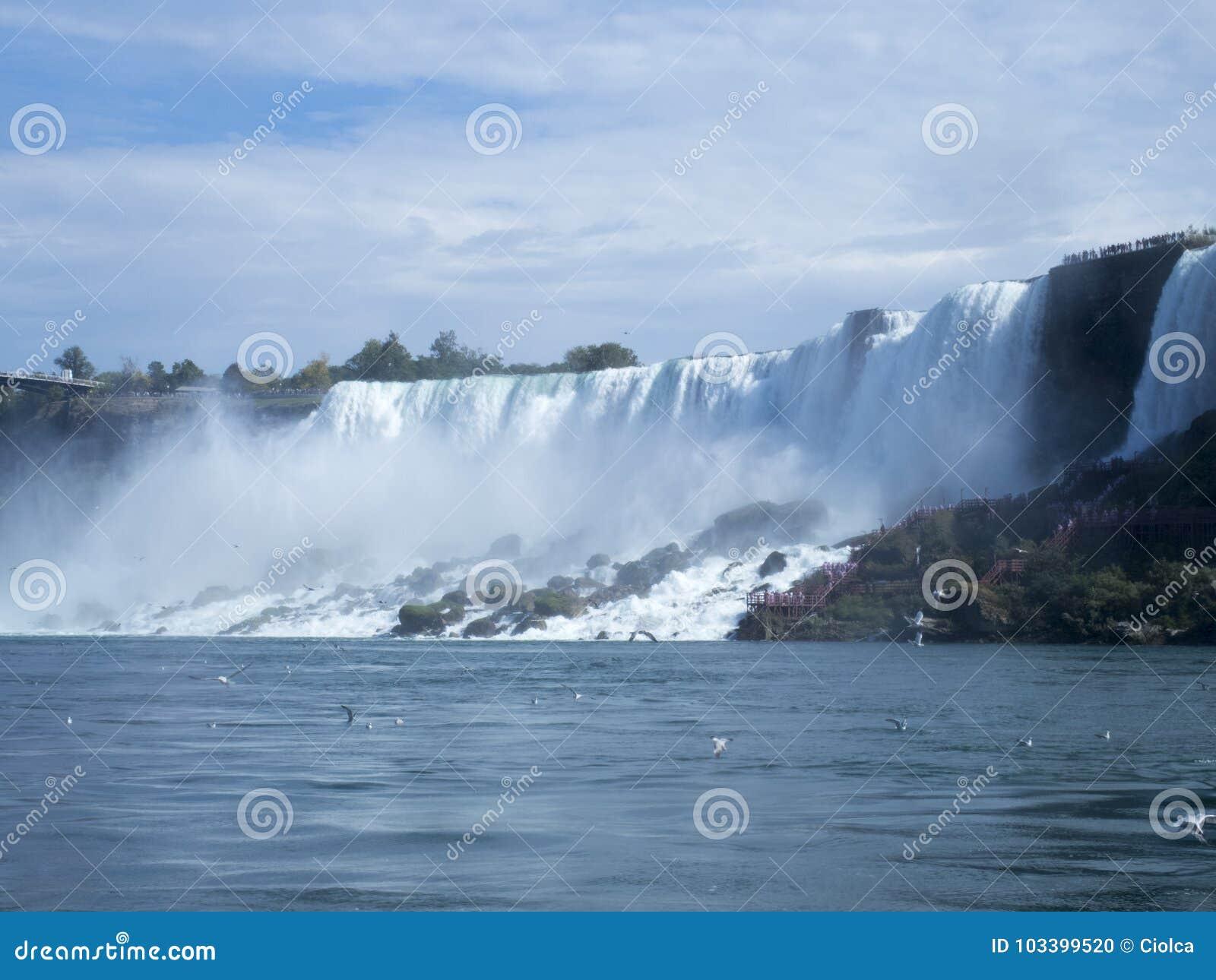 Niagara Falls At The Border Between Usa And Canada Stock