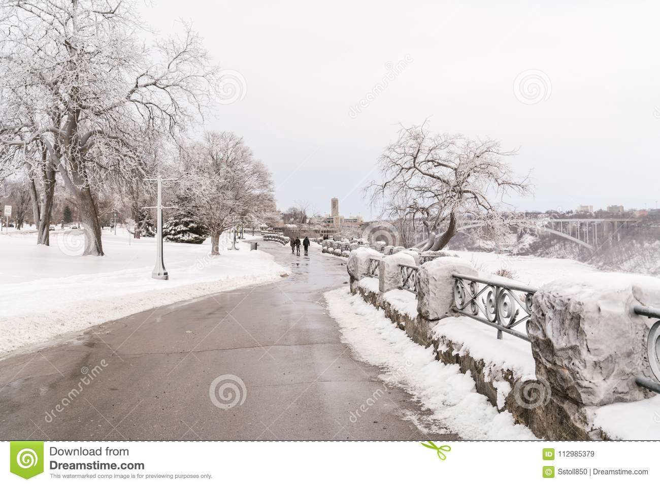 Niagara Falls, Canada, in winter with snow and ice