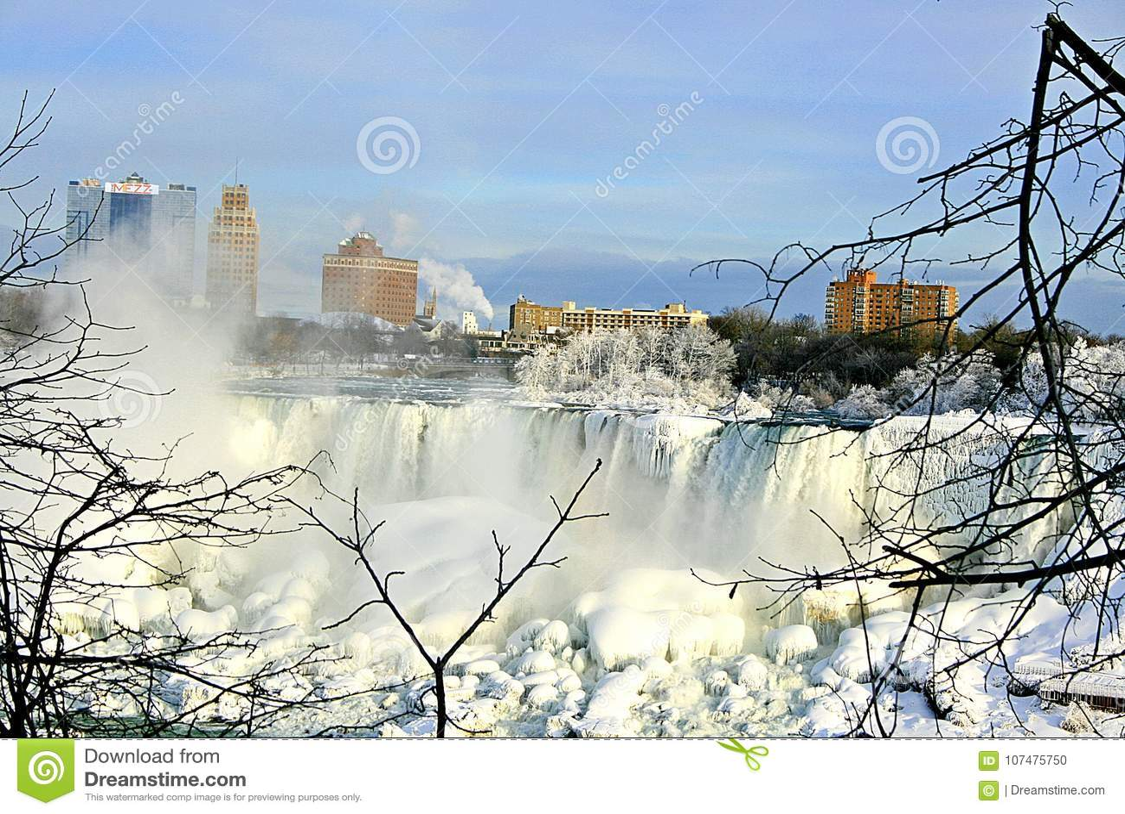 Niagara Falls en hiver Le côté américain des chutes