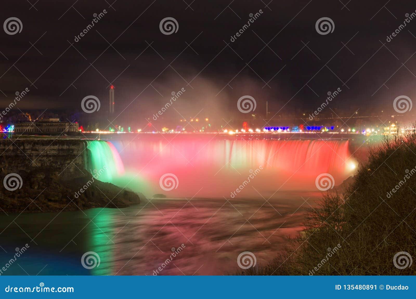 Niagara Falls At Night During A Winter Evening Stock Image