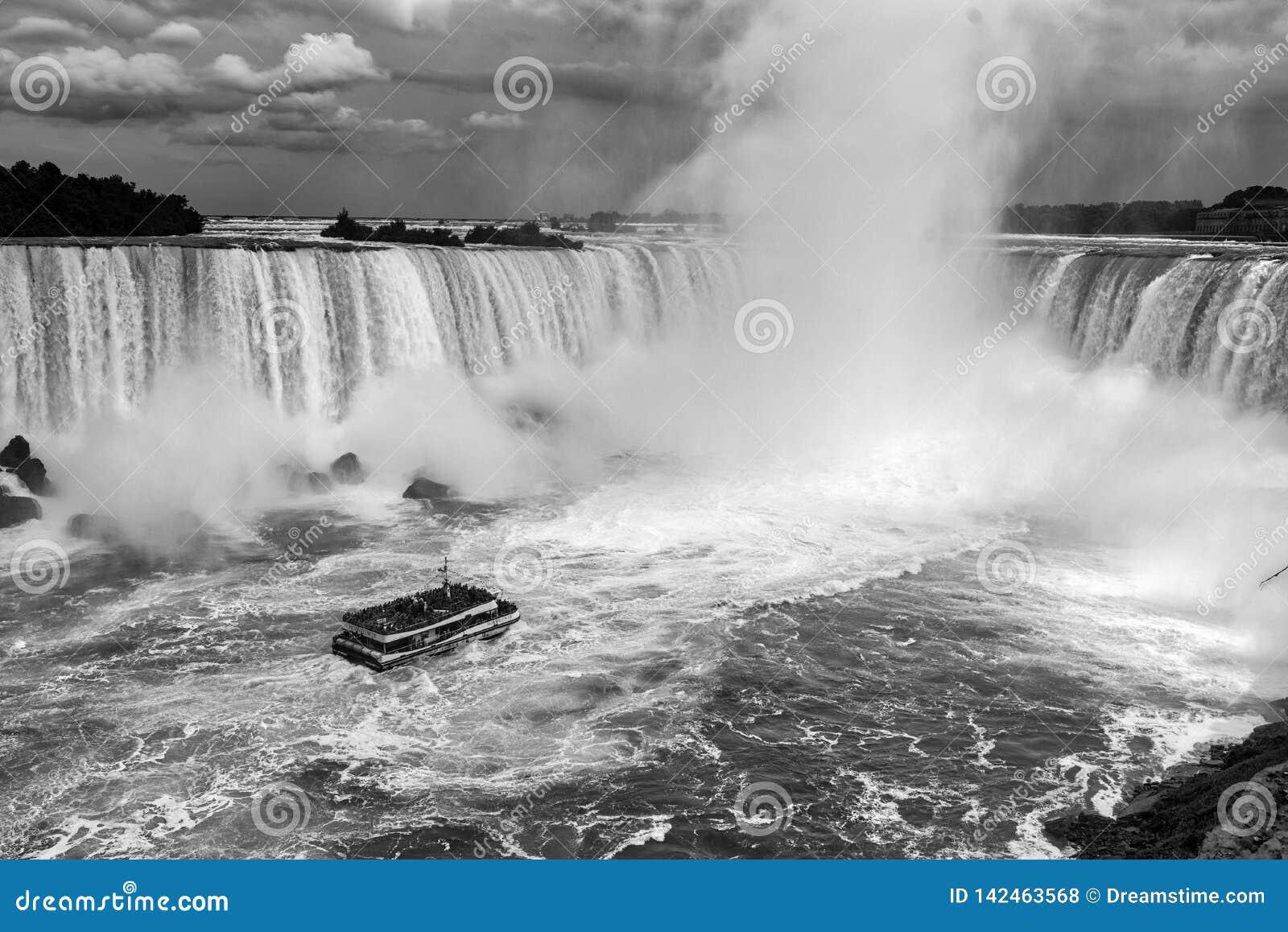 Niagara Falls One Boat Black and White