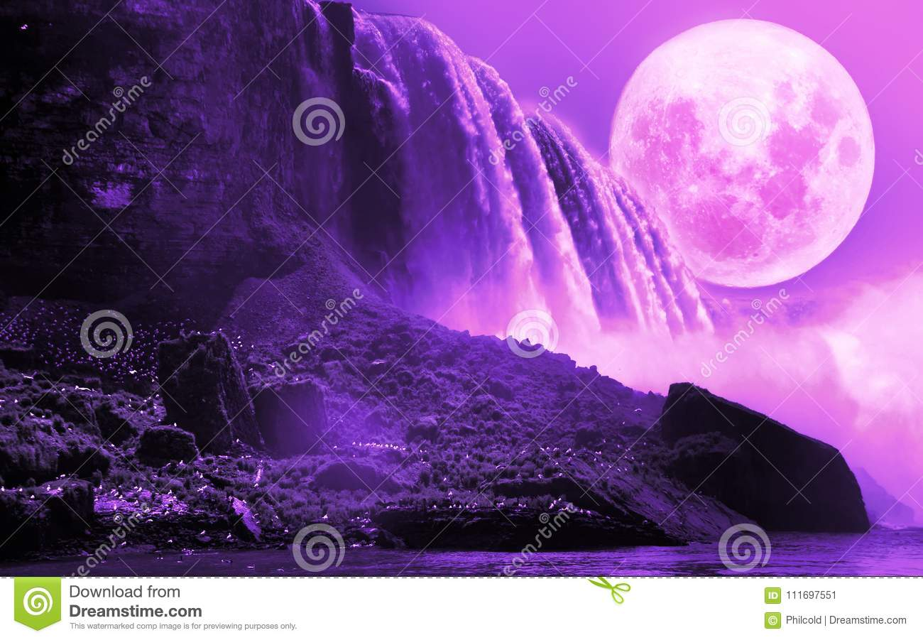 b4e063b3f4 Close view to the Niagara falls with a violet full moon over it, creating  an ultraviolet atmosphere.