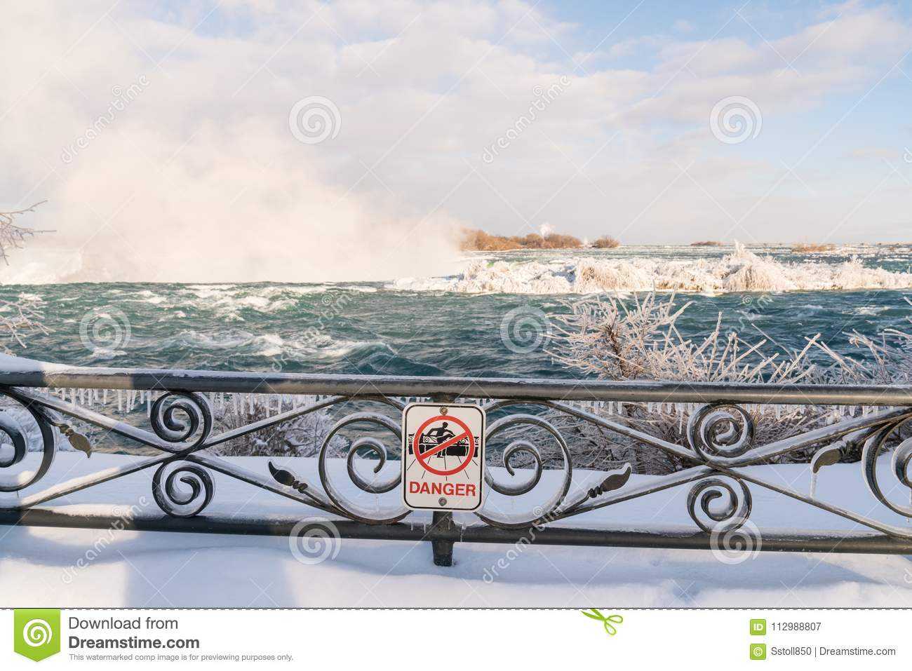 Niagara Falls in Winter with snow and ice