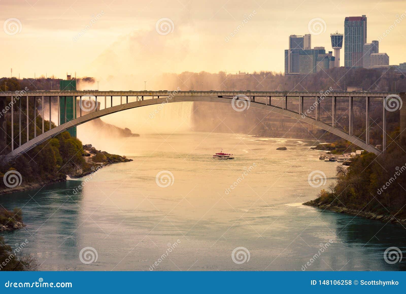 Niagara spadki i tęcza most od wąwozu