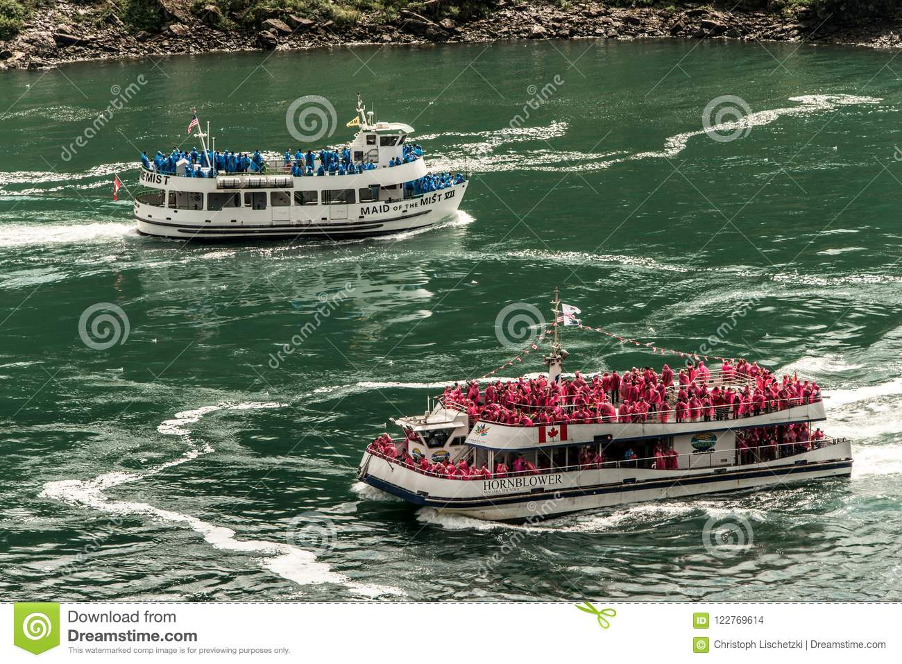 Niagra Ontario Canada 06 09 2017 Tourists Aboard The Maid Of The Mist Boat At The Niagara Falls Usa Editorial Stock Image Image Of Rocks Park 122769614