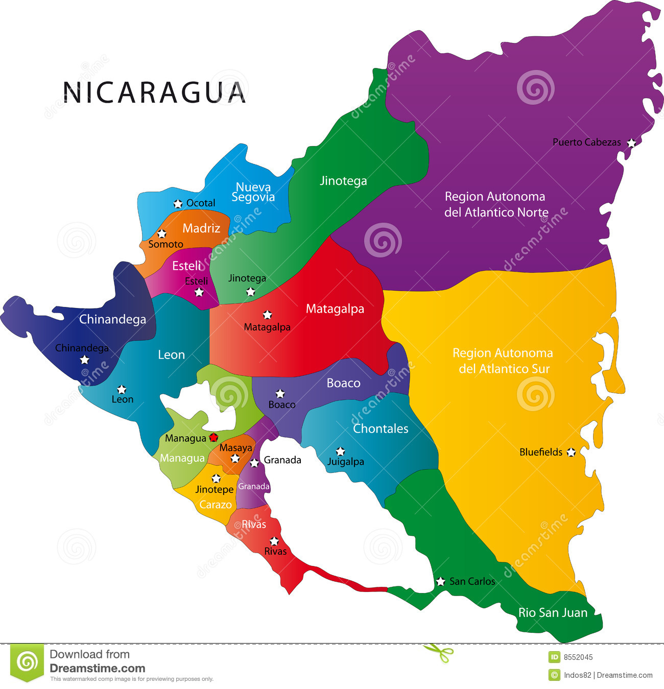 Nicaragua map stock vector. Illustration of geography - 8552045