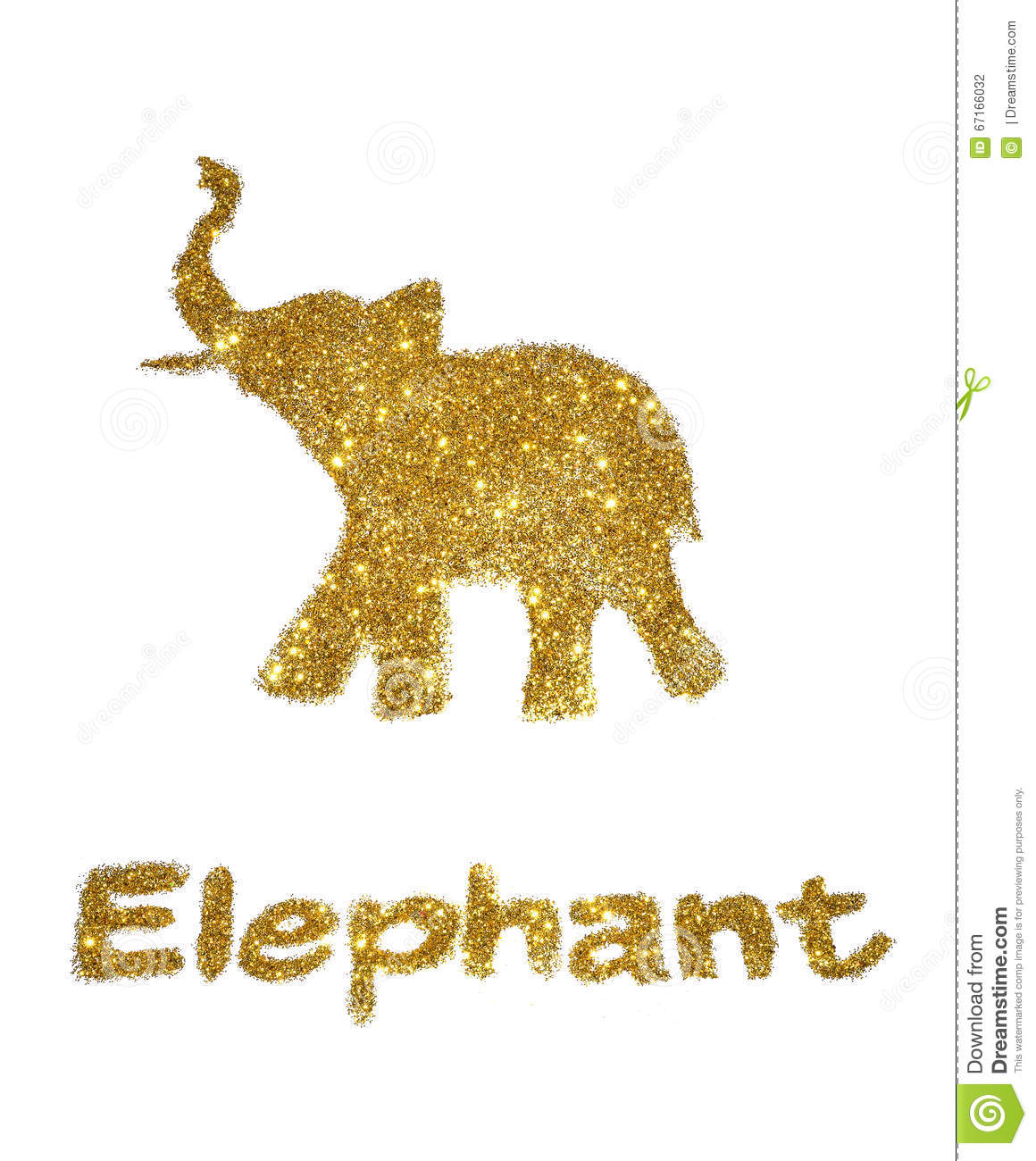 Nice Abstract Elephant Of Golden Glitter With Trunk Raised Up