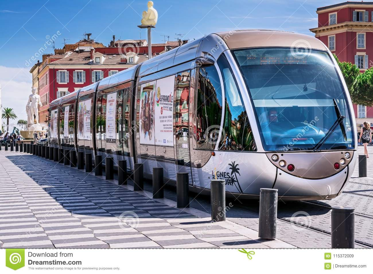 Nice, Alpes-Maritimes department,French Riviera,August 11, 2017, Place Massena.Public transport on the streets of Nice, tram at t