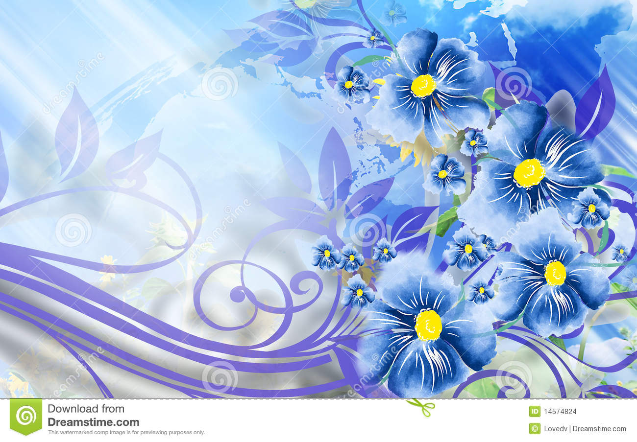 Nice Background With Blue Flowers Stock Illustration