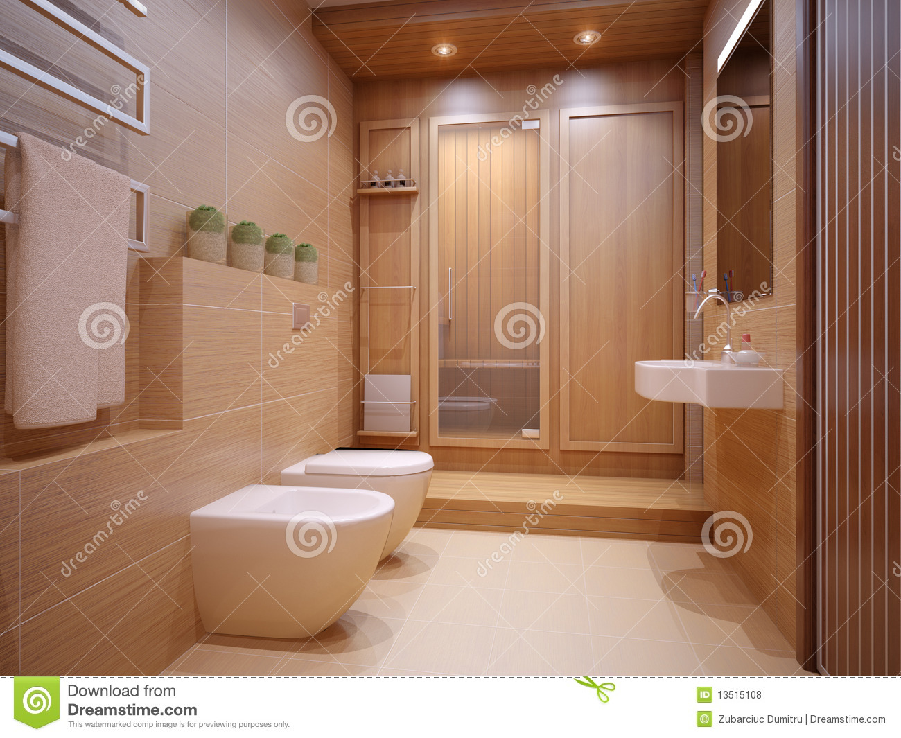 Nice Bathroom Stock Illustration Illustration Of Lamp