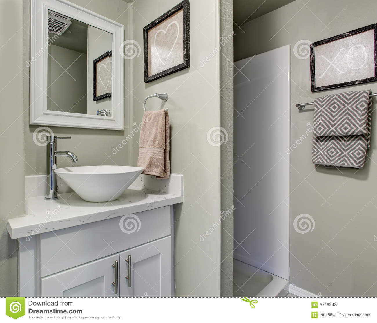 Nice Bathroom With Grey Green Walls And Simple Decor